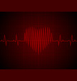 heart rate heartbeat neon line on red graphic vector image