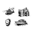 icon set for elite site helicopter yacht real vector image vector image