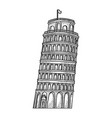 leaning tower pisa sketch engraving vector image vector image