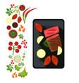 medium steak on plate vector image vector image