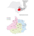 metropolitan region sorocaba administrative map vector image