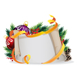 Paper scroll with Christmas balls vector image vector image