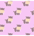 Pattern with a cute hippo vector image
