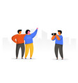 people group travel take photo with camera happy vector image vector image