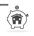 piggy bank with house icon vector image vector image