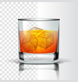 realistic glass with bourbon and ice cubes vector image vector image