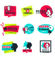 refer friend isolated icons loudspeaker and man vector image