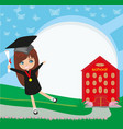 school-college graduation - girl vector image