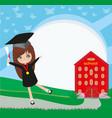 school-college graduation - girl vector image vector image