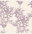 seamless pattern engraved roses eps 8 vector image