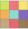 set nine simple geometric patterns vector image vector image
