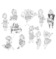 Set of black and white girls with crown on head vector image vector image