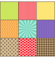 Set of nine simple geometric patterns vector image