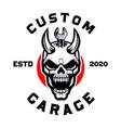 skull devil with wrench custom garage vector image