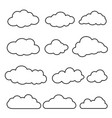 thin line set of clouds isolated vector image