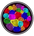 Transparent color drops on black background vector image vector image