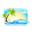 tropical palms on beach among vector image