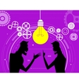 Two creative businessmen share ideas and plans vector image vector image