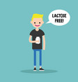 young blond boy holding a carton of lactose free vector image
