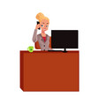 young blond businesswoman secretary answering vector image vector image