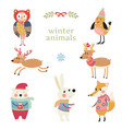 collection of animals in winter clothing vector image