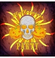 Grunge Halloween party card or poster with skull vector image