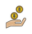hand with coins dollar money finance icon vector image