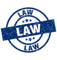 law blue round grunge stamp vector image