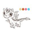 Cute cartoon flying baby dragon vector image
