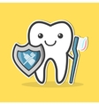 Tooth with shield and toothbrush vector image