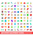 100 sport equipment icons set cartoon style vector image vector image