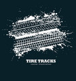 abstract grunge tire tracks marks on dark vector image vector image
