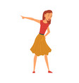 angry woman character standing and pointing vector image vector image