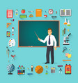 back to school teacher with pointer stick vector image