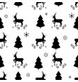 black christmas tree snowflake and deer seamless vector image vector image