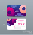 business card design with vibrant pink blue color vector image