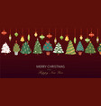 christmas fir trees with colorful baubles and vector image vector image