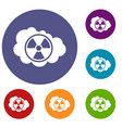 cloud and radioactive sign icons set vector image vector image