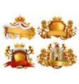 coats arms king and kingdom 3d emblem set vector image vector image