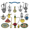 Colorful set of arabic ornamental crockery with vector image vector image