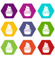 cream cupcake icons set 9 vector image vector image