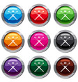 crossed baseball bats and ball set 9 collection vector image vector image