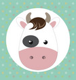 cute cow head tender character vector image