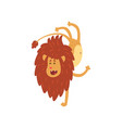 cute lion cub cartoon character doing handstand vector image vector image