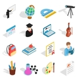 Education icons set isometric 3d style vector image vector image