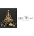 elegant christmas card template with gold fir tree vector image vector image