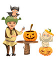 father with kids carving hallows pumpkin poster vector image