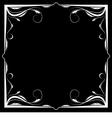 floral white frame on a black background vector image vector image