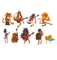 funny cartoon wild animal characters playing vector image