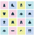 garment icons set with boots trousers dress and vector image vector image